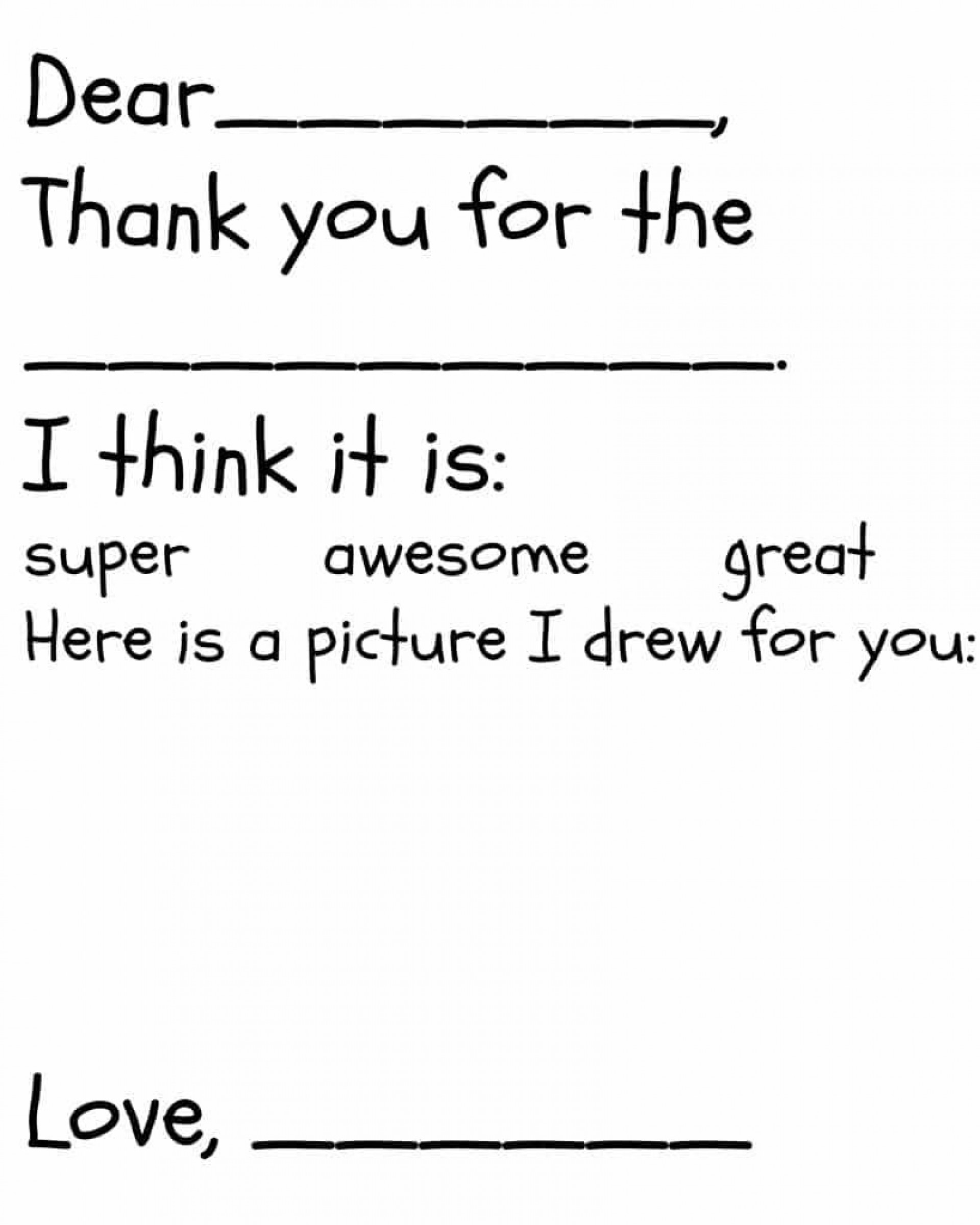 005 Fantastic Thank You Note Template For Kid High Definition  Kids Child Pdf Letter1920