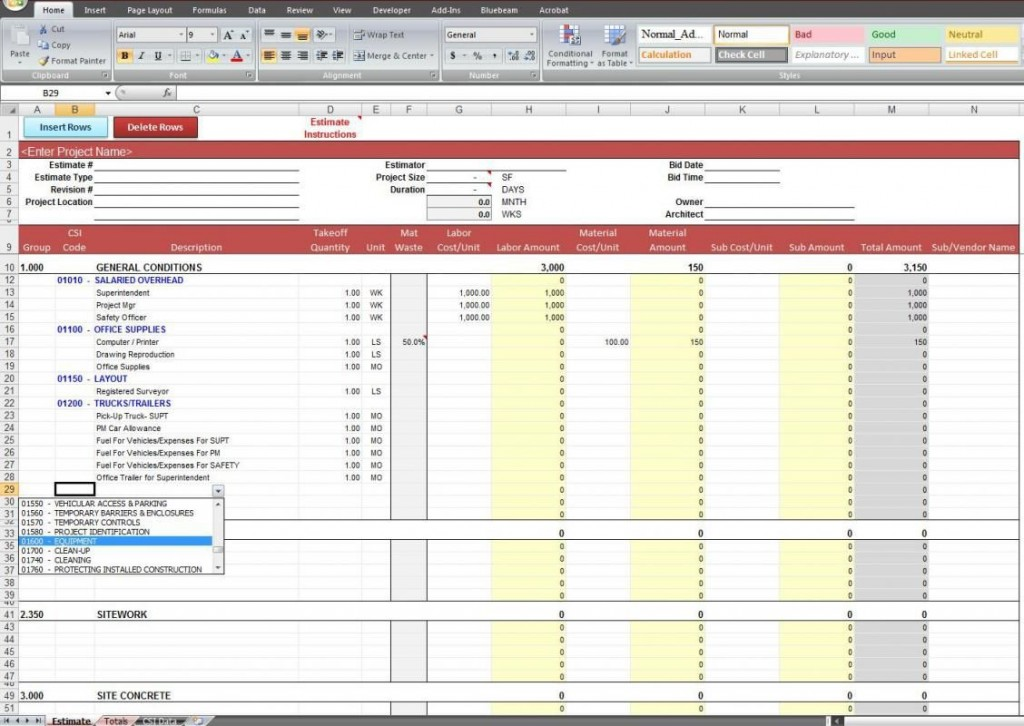 005 Fascinating Construction Estimating Spreadsheet Template Picture  Example Estimate Free CostLarge