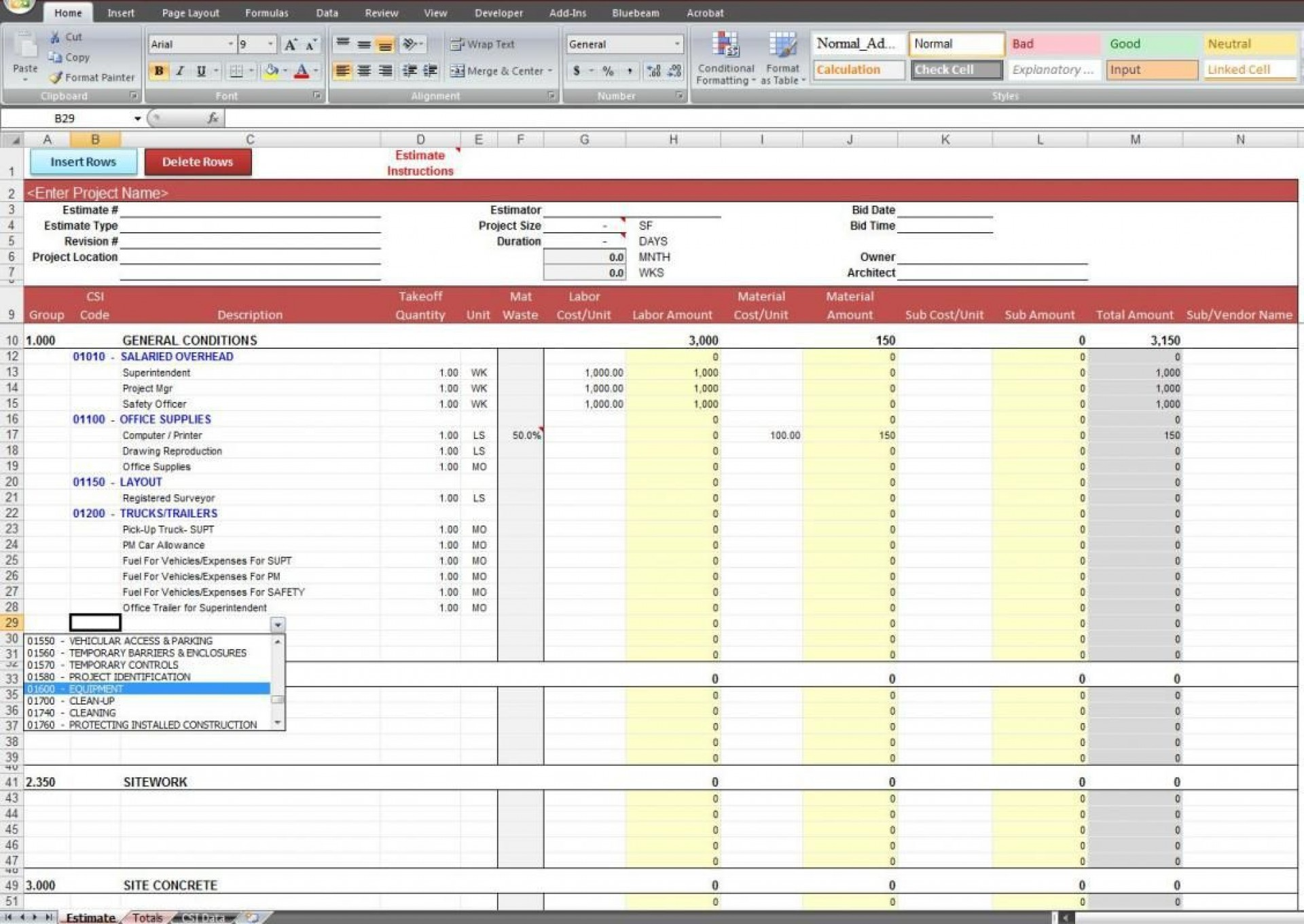 005 Fascinating Construction Estimating Spreadsheet Template Picture  Example Estimate Free Cost1920