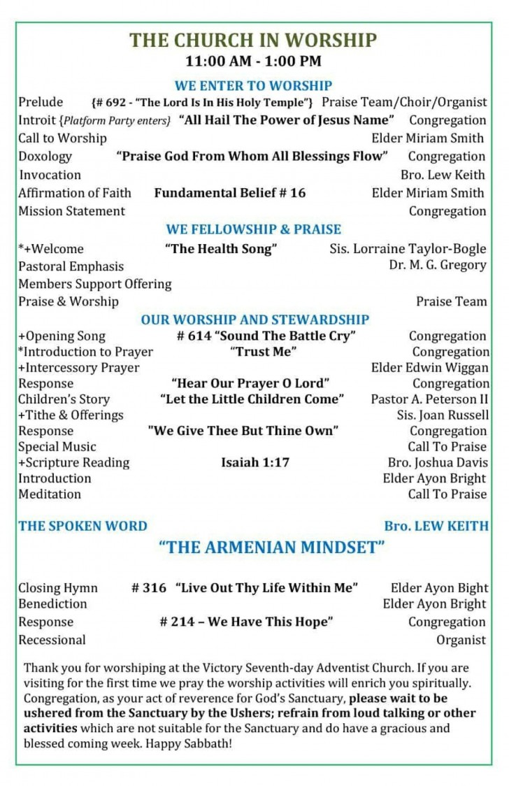 005 Fascinating Free Church Program Template Doc High Resolution 728