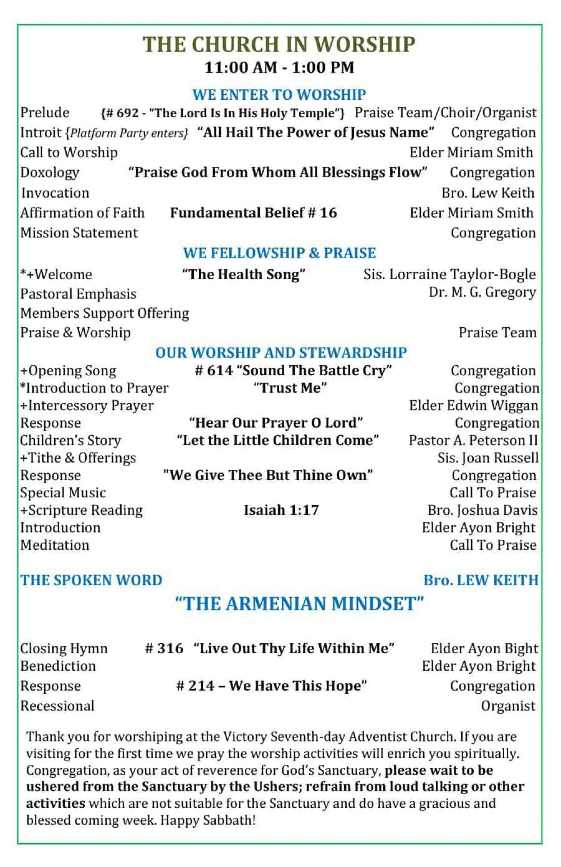 005 Fascinating Free Church Program Template Doc High Resolution Full