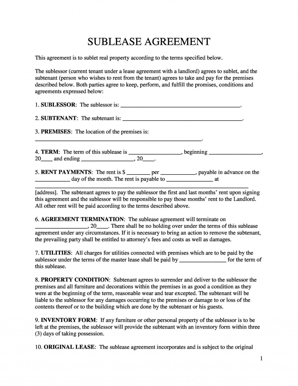 005 Fascinating Free Sublease Agreement Template Pdf Photo  Room Rental Car Form Residential LeaseLarge