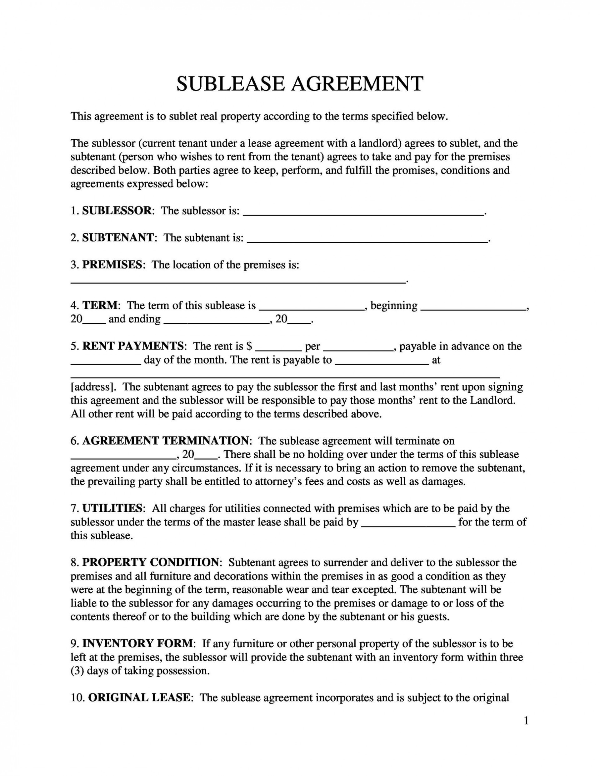 005 Fascinating Free Sublease Agreement Template Pdf Photo  Room Rental Car Form Residential Lease1920