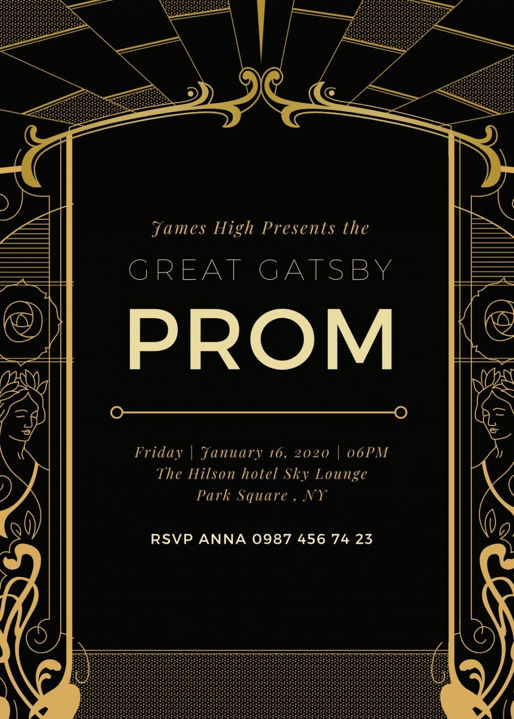 005 Fascinating Great Gatsby Invitation Template Example  Templates Free Download BlankLarge