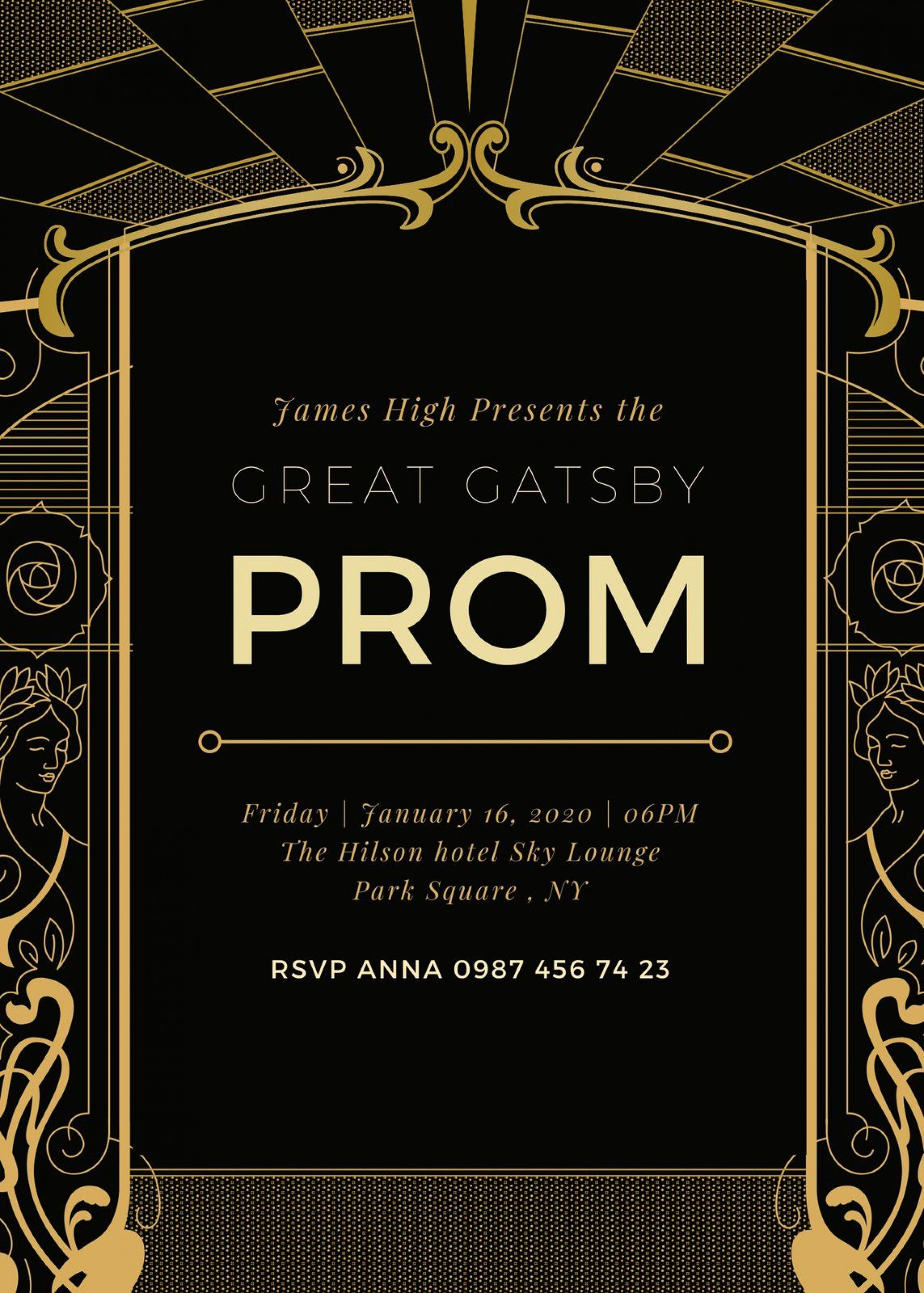 005 Fascinating Great Gatsby Invitation Template Example  Templates Free Download Blank1920