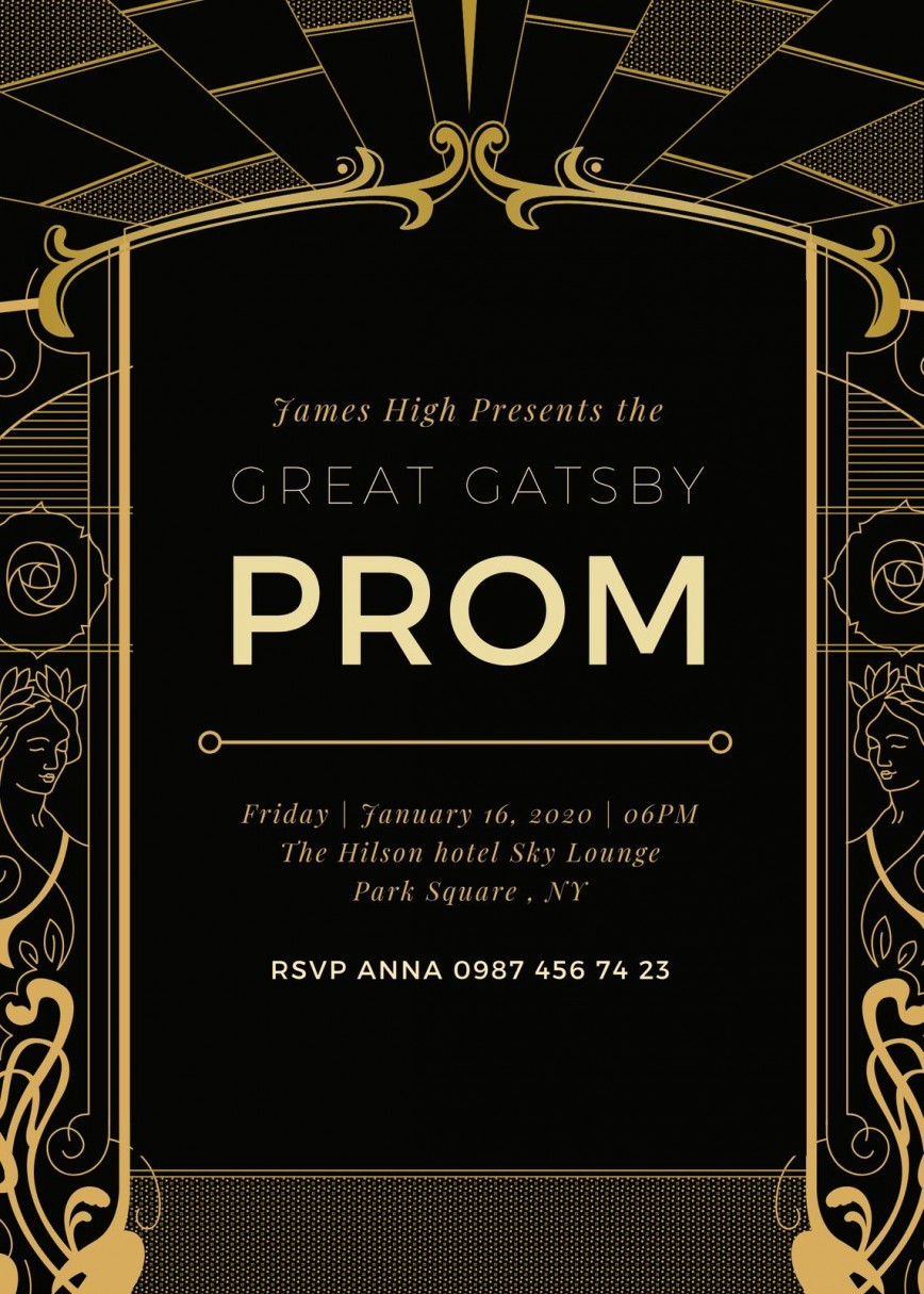 005 Fascinating Great Gatsby Invitation Template Example  Templates Themed Download Party Invite