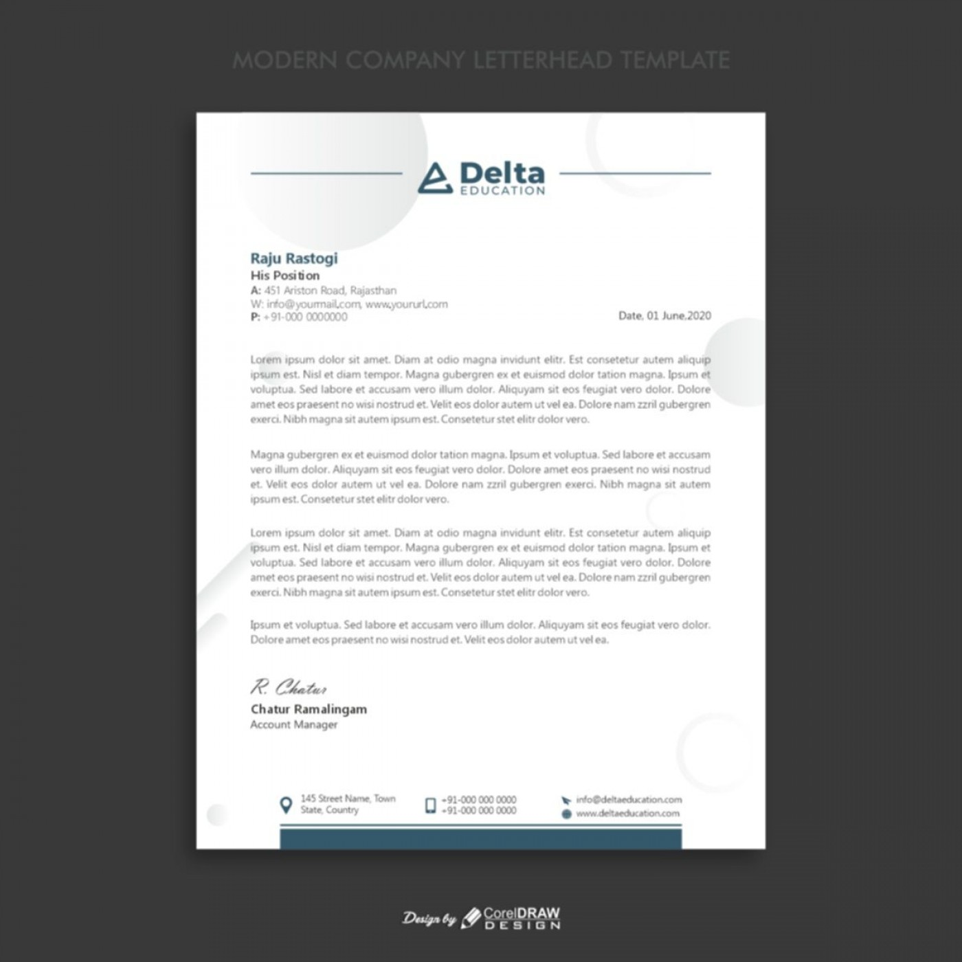 005 Fascinating Letterhead Template Free Download Cdr Concept 1400