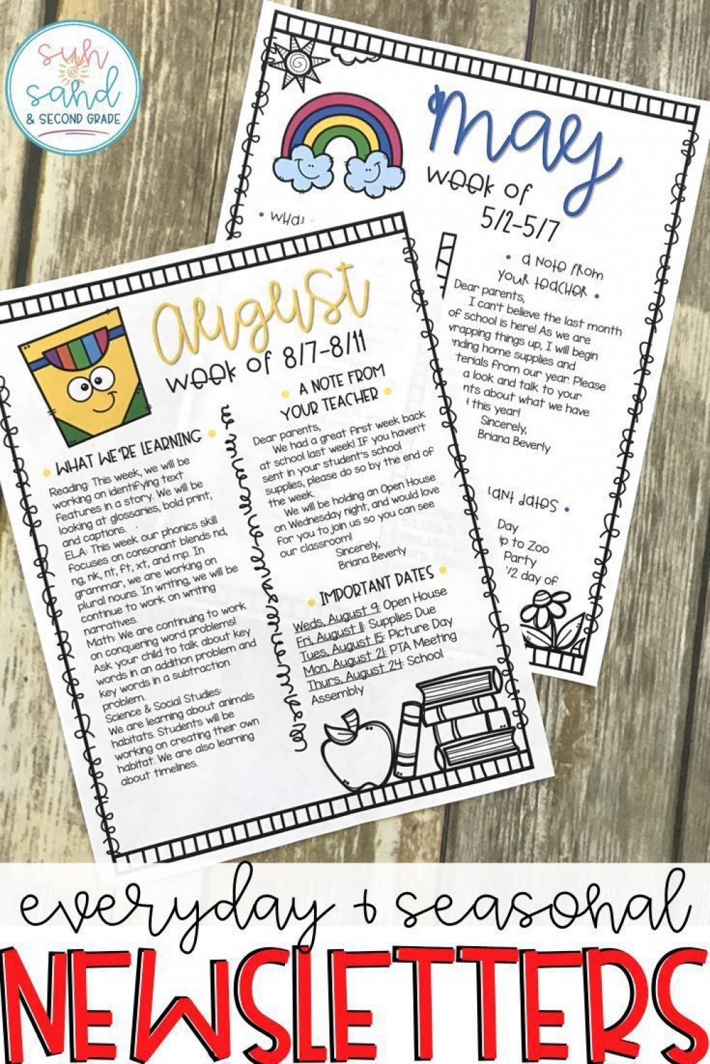 005 Fascinating Newsletter Template For Teacher To Parent Picture  ParentsLarge