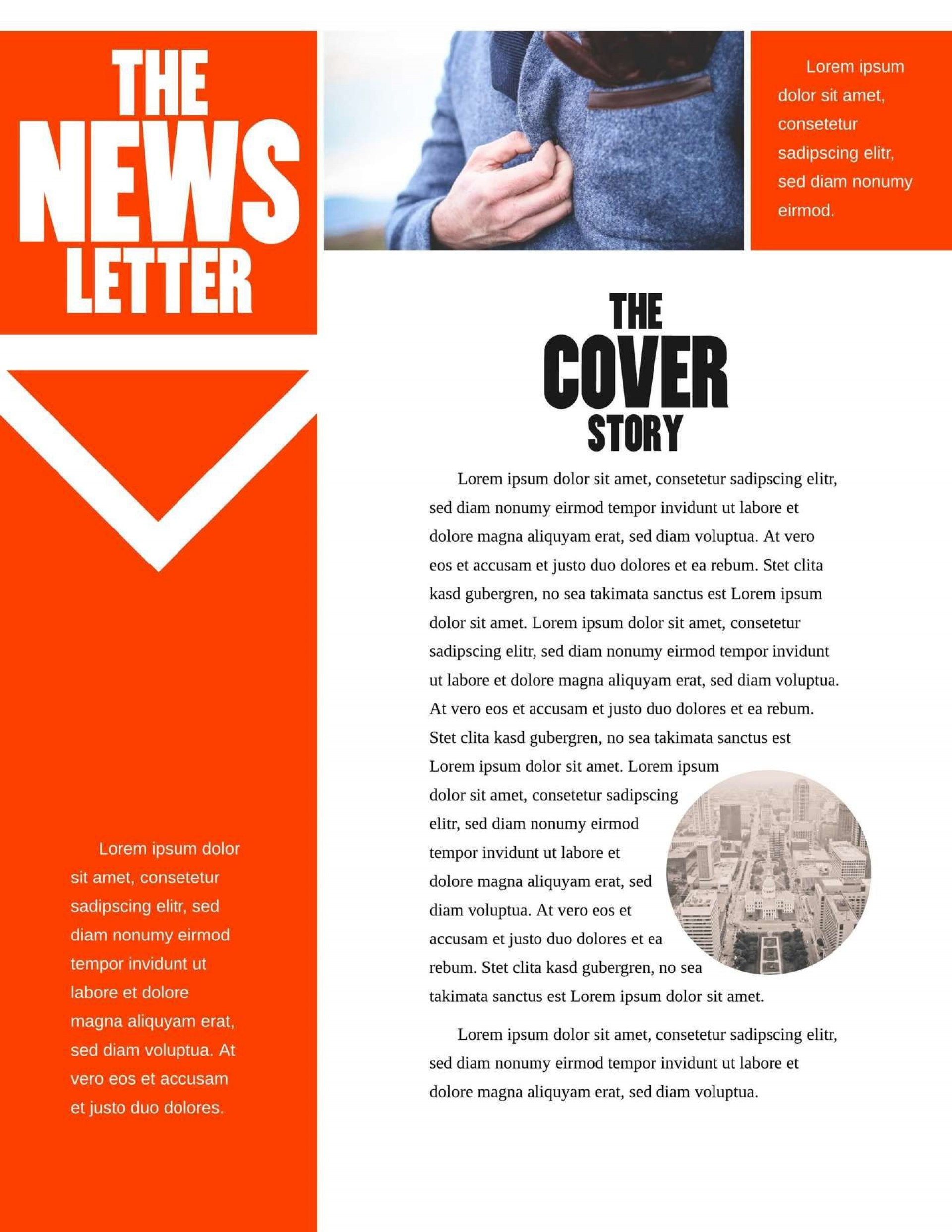 005 Fascinating One Page Newsletter Template Highest Quality  Free Download Word1920