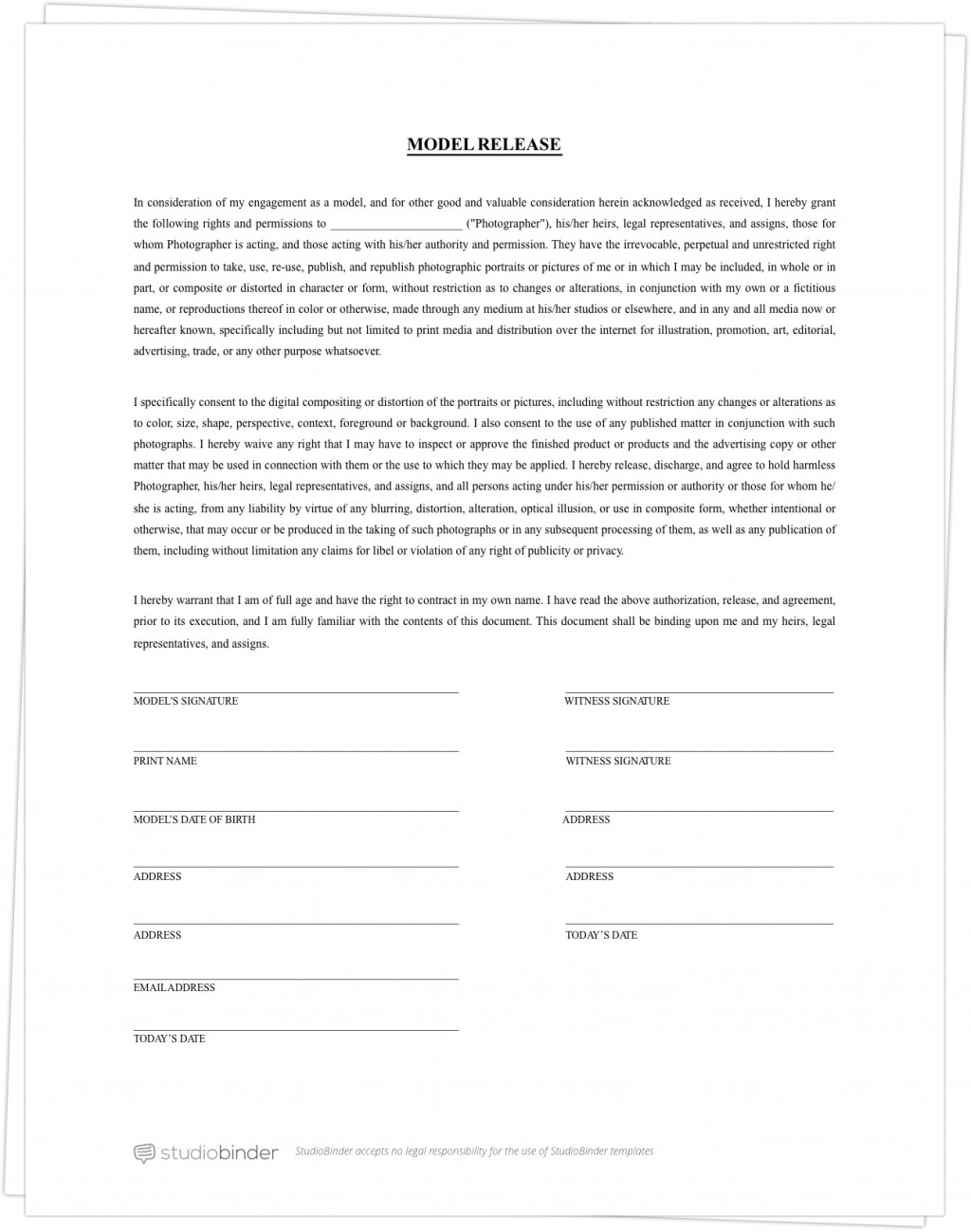 005 Fascinating Photography Contract Template Pdf High Definition  Free PortraitLarge