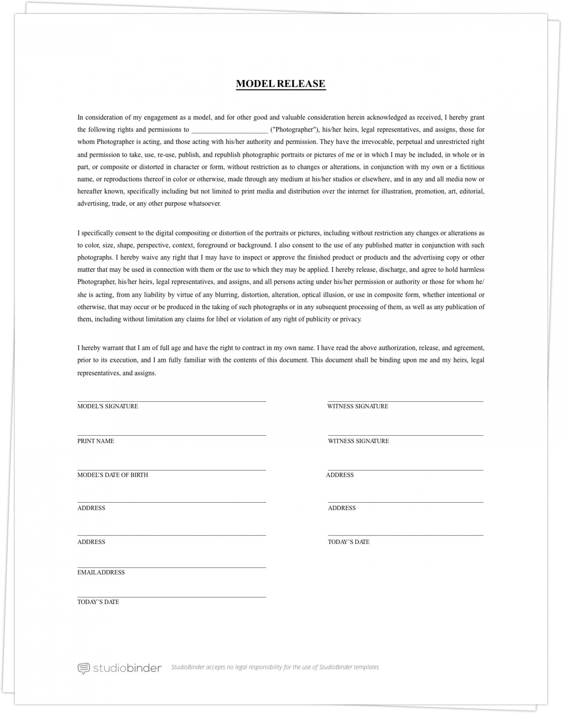 005 Fascinating Photography Contract Template Pdf High Definition  Free Portrait1920