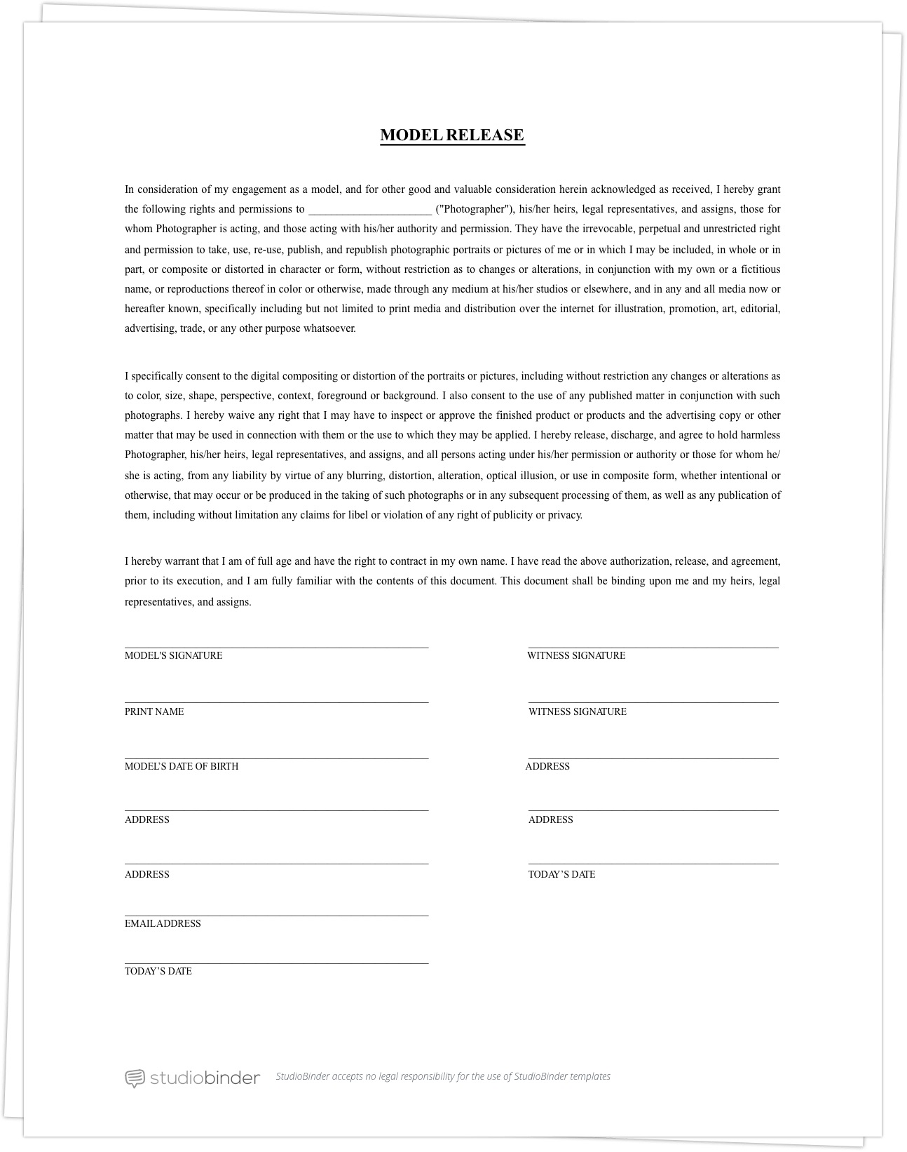 005 Fascinating Photography Contract Template Pdf High Definition  Free PortraitFull