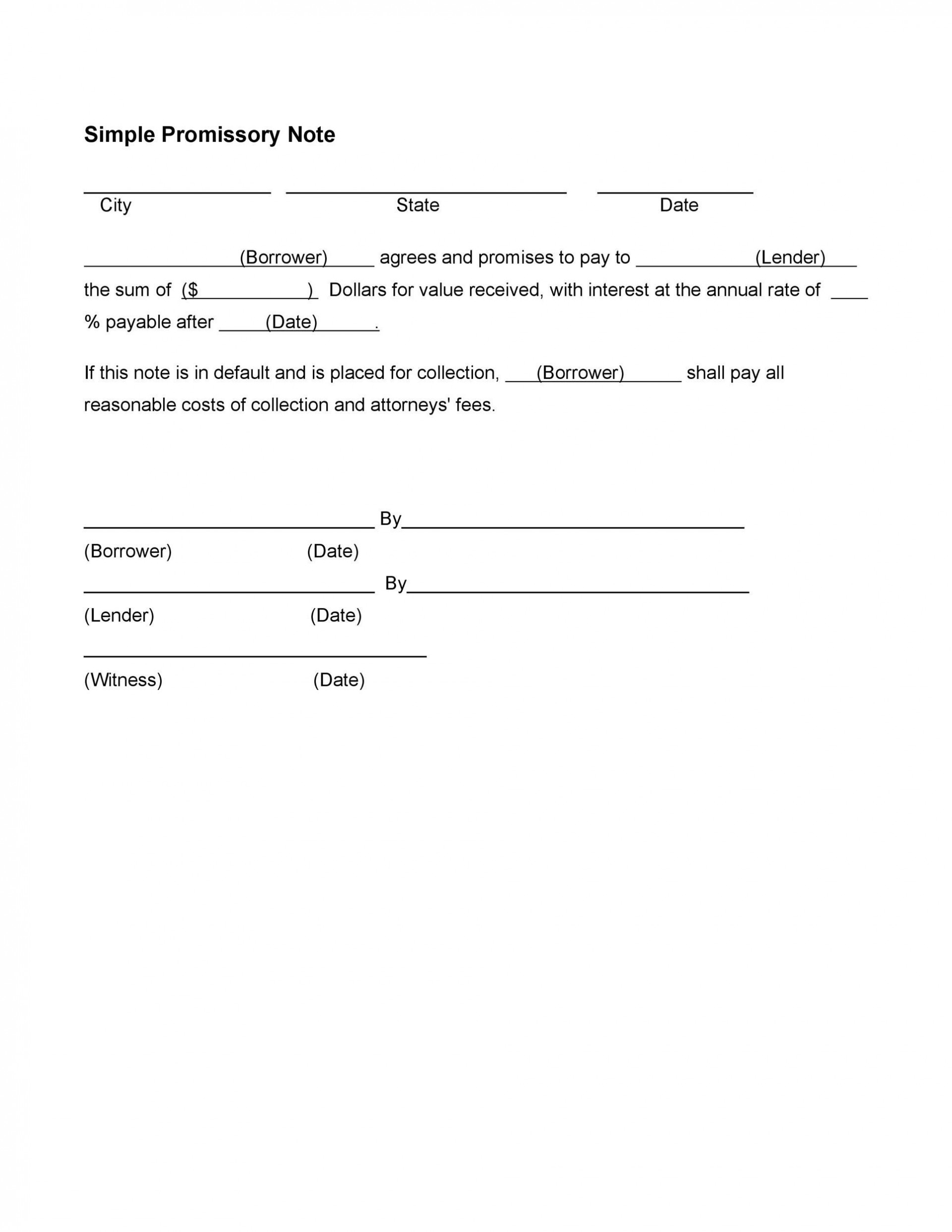 005 Fascinating Promissory Note Template Free High Definition  Pdf Florida Blank Form1920