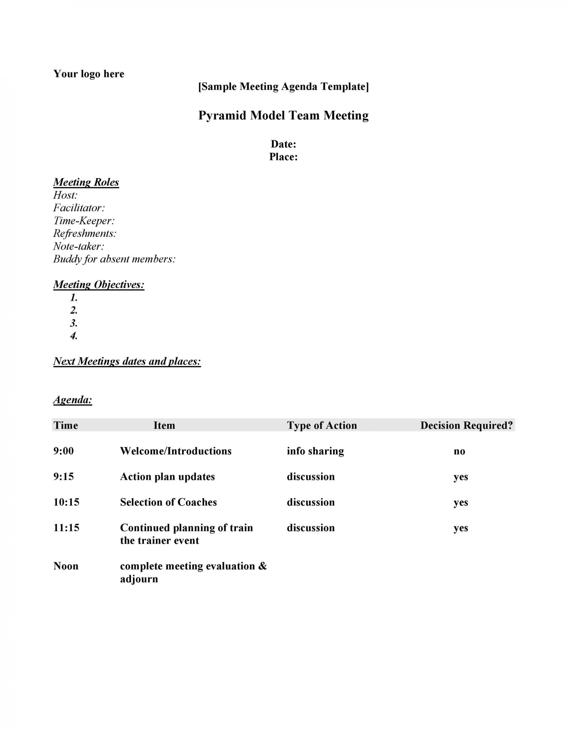 005 Fascinating Staff Meeting Agenda Template Photo  Example Pdf Sample Format1920