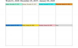 005 Fascinating Weekly Calendar Template 2020 Image  Printable Blank Free