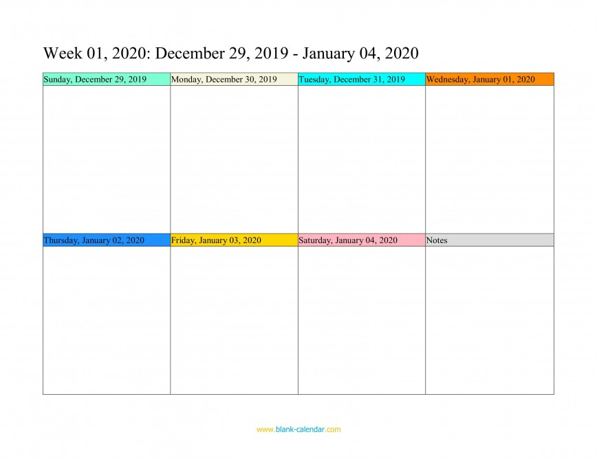 005 Fascinating Weekly Calendar Template 2020 Image  Appointment Printable Print Free Download