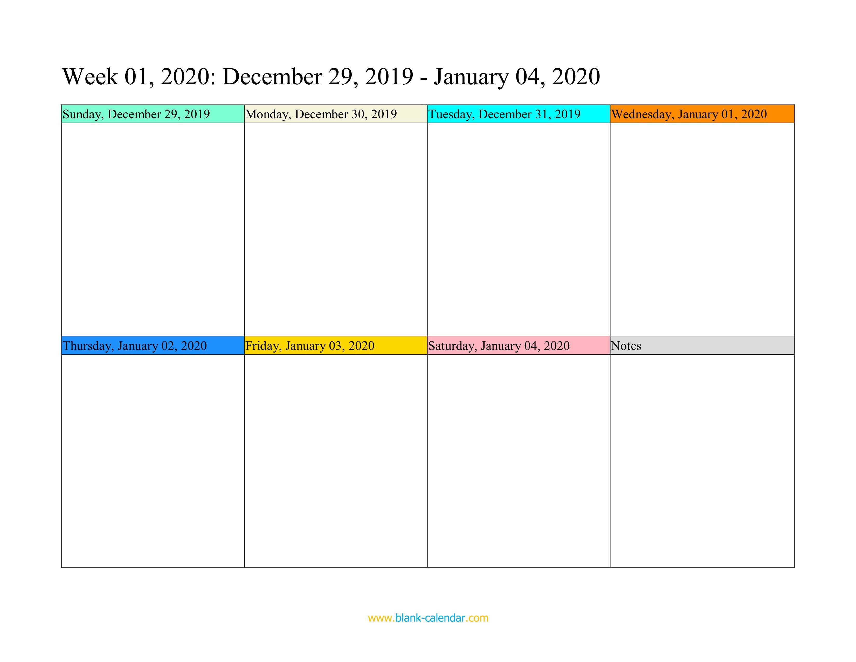 005 Fascinating Weekly Calendar Template 2020 Image  Printable Blank FreeFull