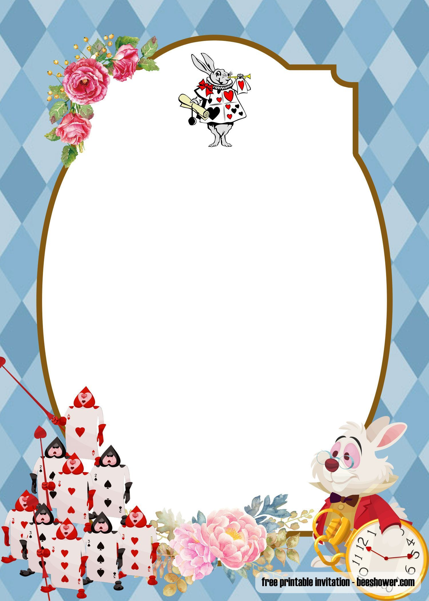 005 Fearsome Alice In Wonderland Tea Party Template Photo  Templates Invitation FreeFull