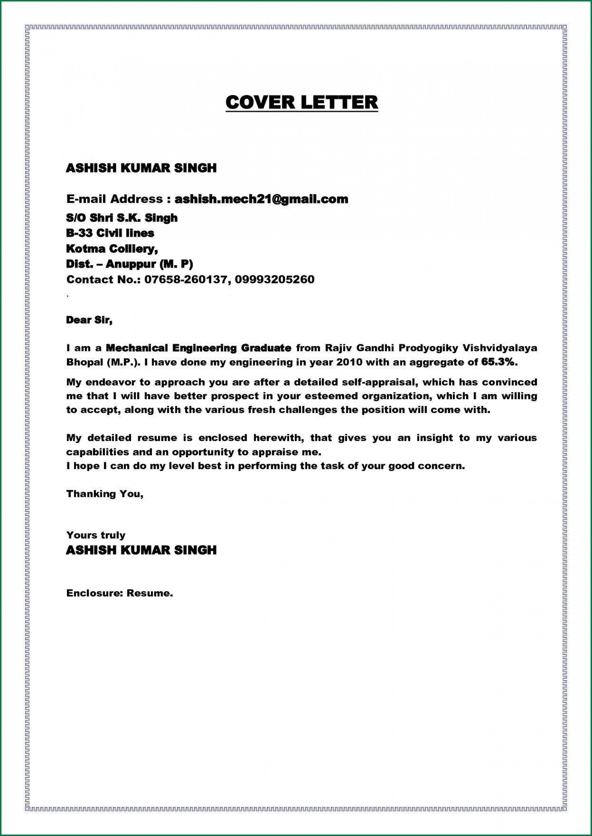 005 Fearsome Cover Letter Sample Template For Fresh Graduate In Marketing Concept 1920