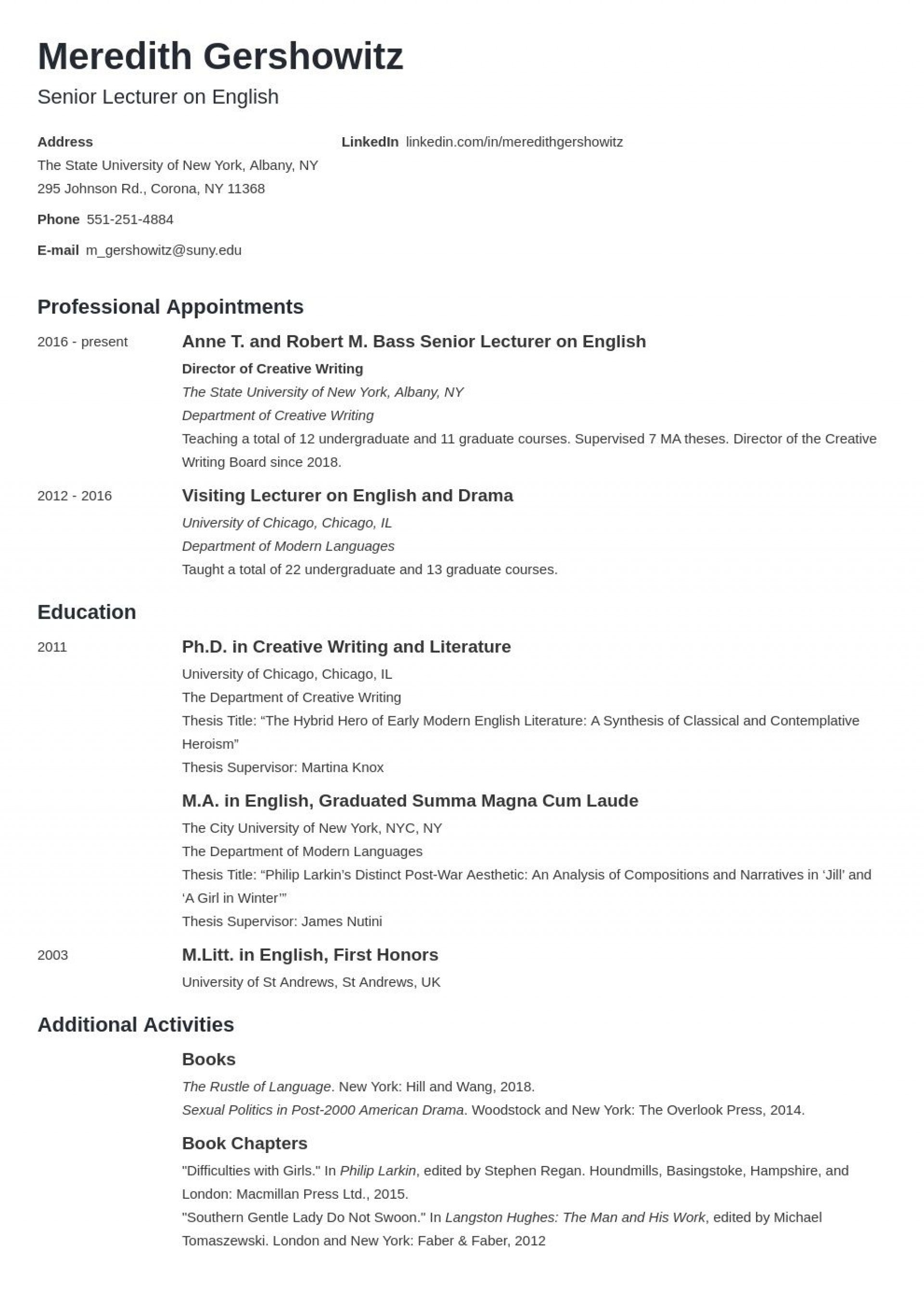 005 Fearsome Curriculum Vitae Template Student Example  Sample College Undergraduate For Research Paper1920
