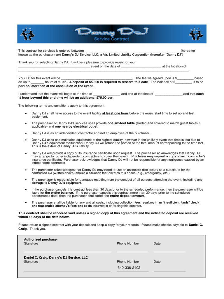 005 Fearsome Disc Jockey Contract Template Image  Disk FreeFull