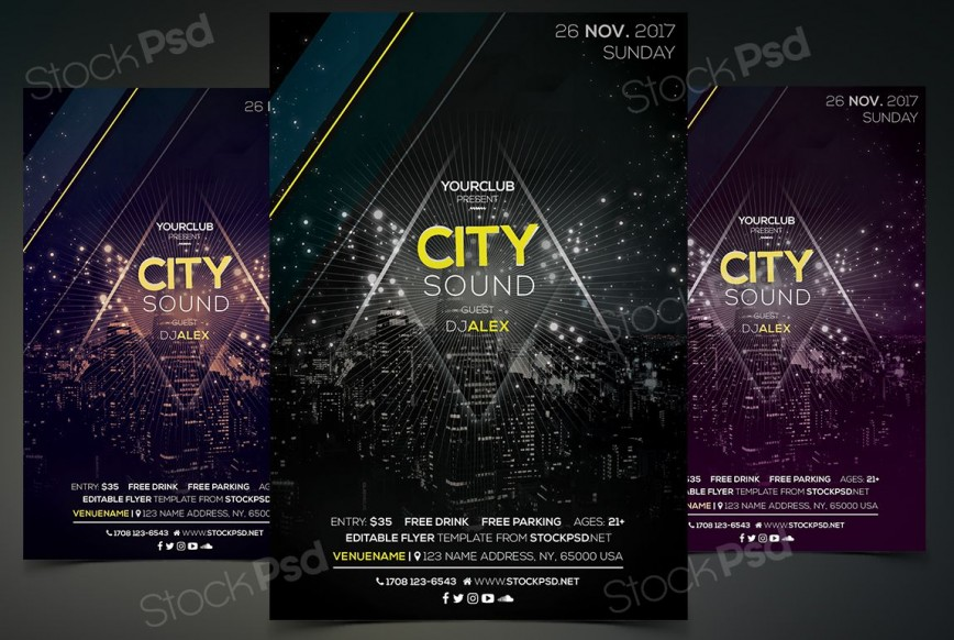 005 Fearsome Event Flyer Template Free Psd High Resolution  Music Boxing868
