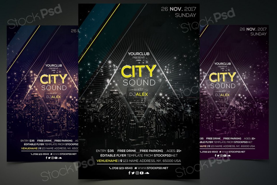 005 Fearsome Event Flyer Template Free Psd High Resolution  Music Boxing960