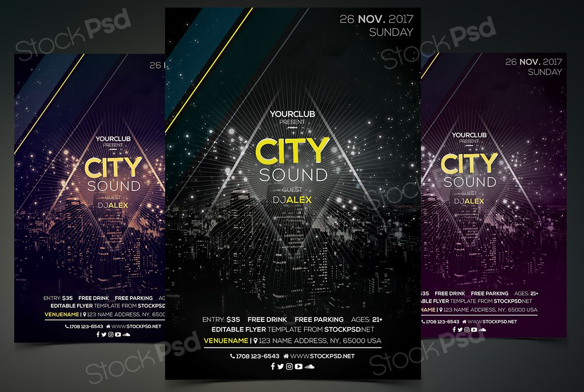 005 Fearsome Event Flyer Template Free Psd High Resolution  Music BoxingFull