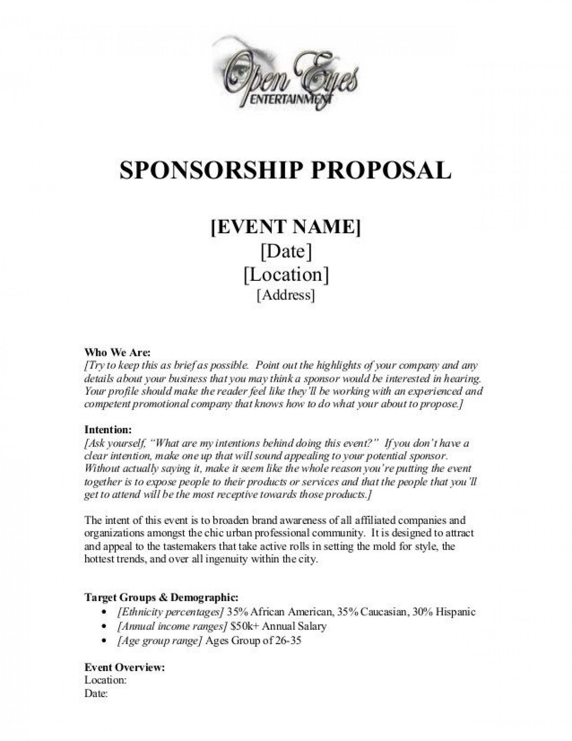 005 Fearsome Event Sponsorship Proposal Template Sample  Free Ppt Music Pdf1920