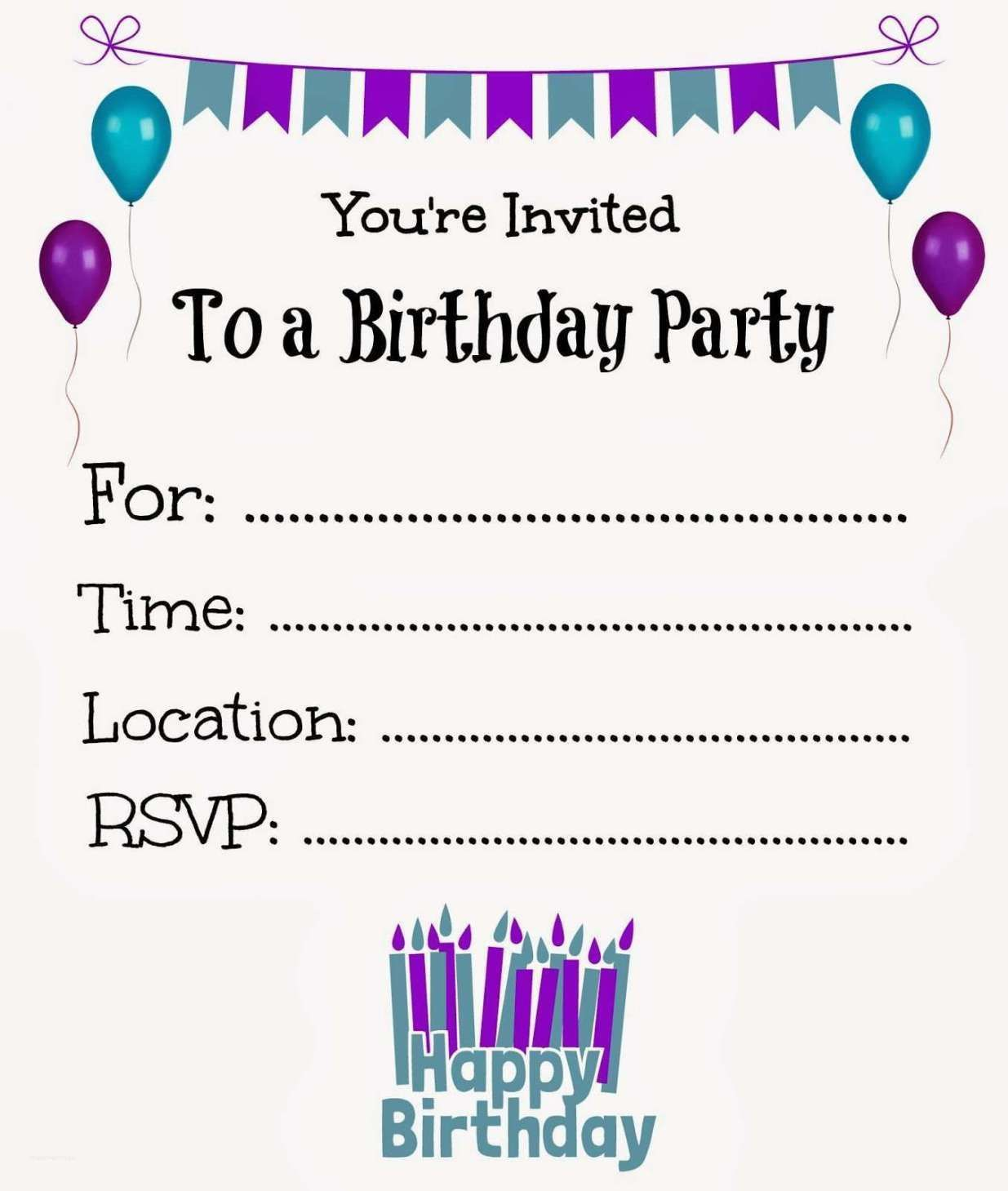 005 Fearsome Free Birthday Card Invitation Template Printable Idea Full