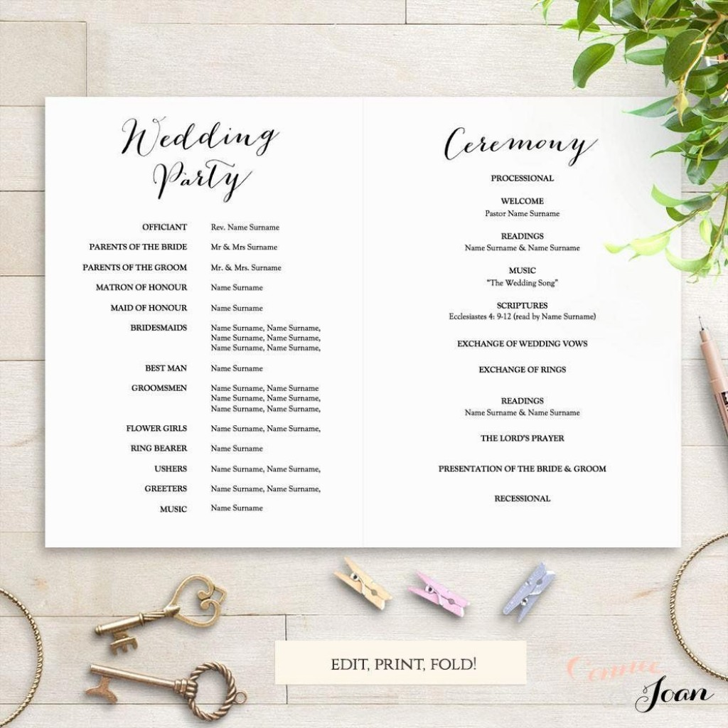 005 Fearsome Free Wedding Order Of Service Template Microsoft Word Design Large