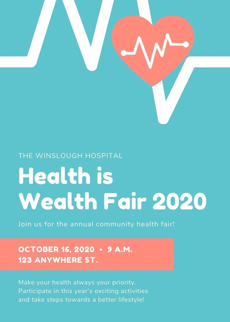 005 Fearsome Health Fair Flyer Template Picture  And Wellnes Word960