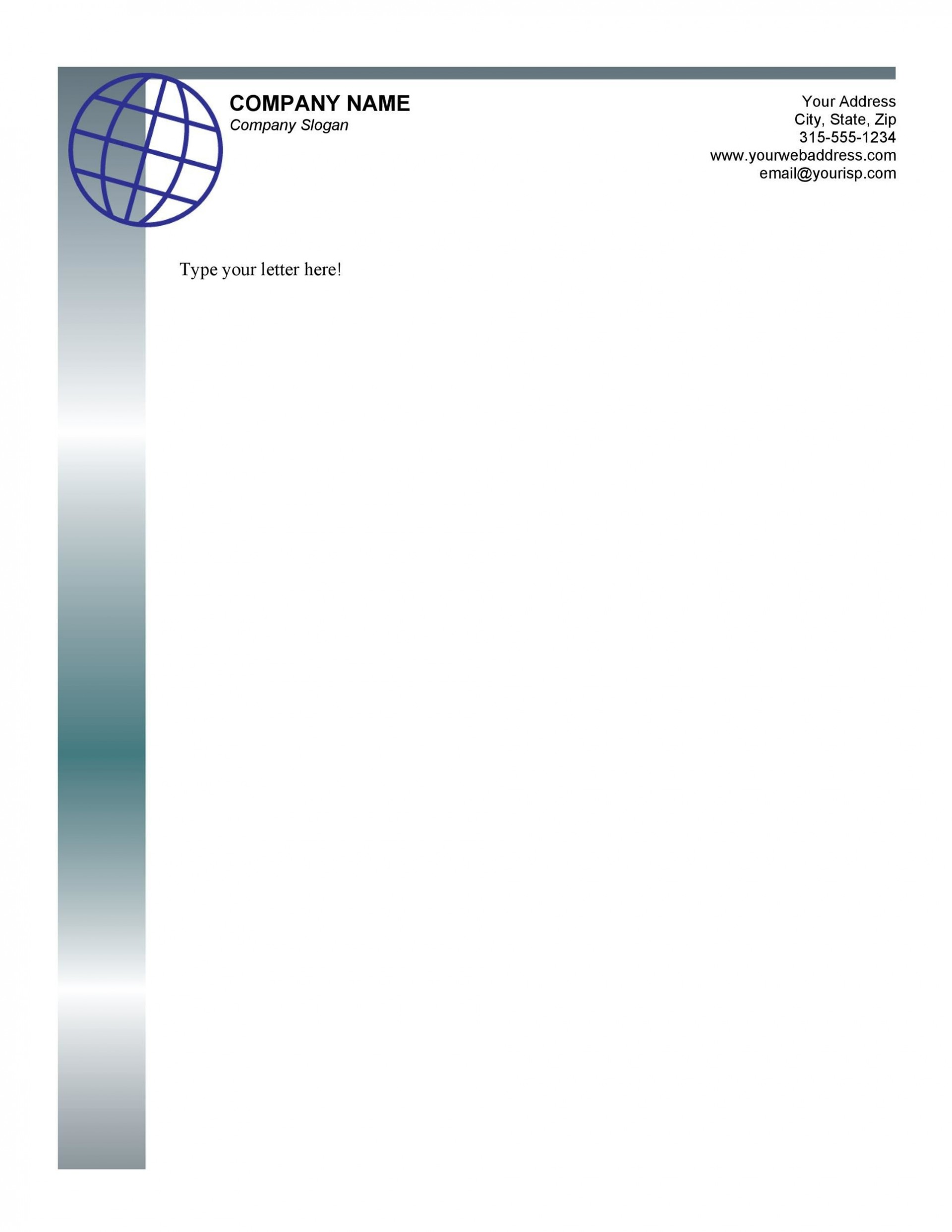 005 Fearsome Letterhead Format Excel Free Download Concept 1920