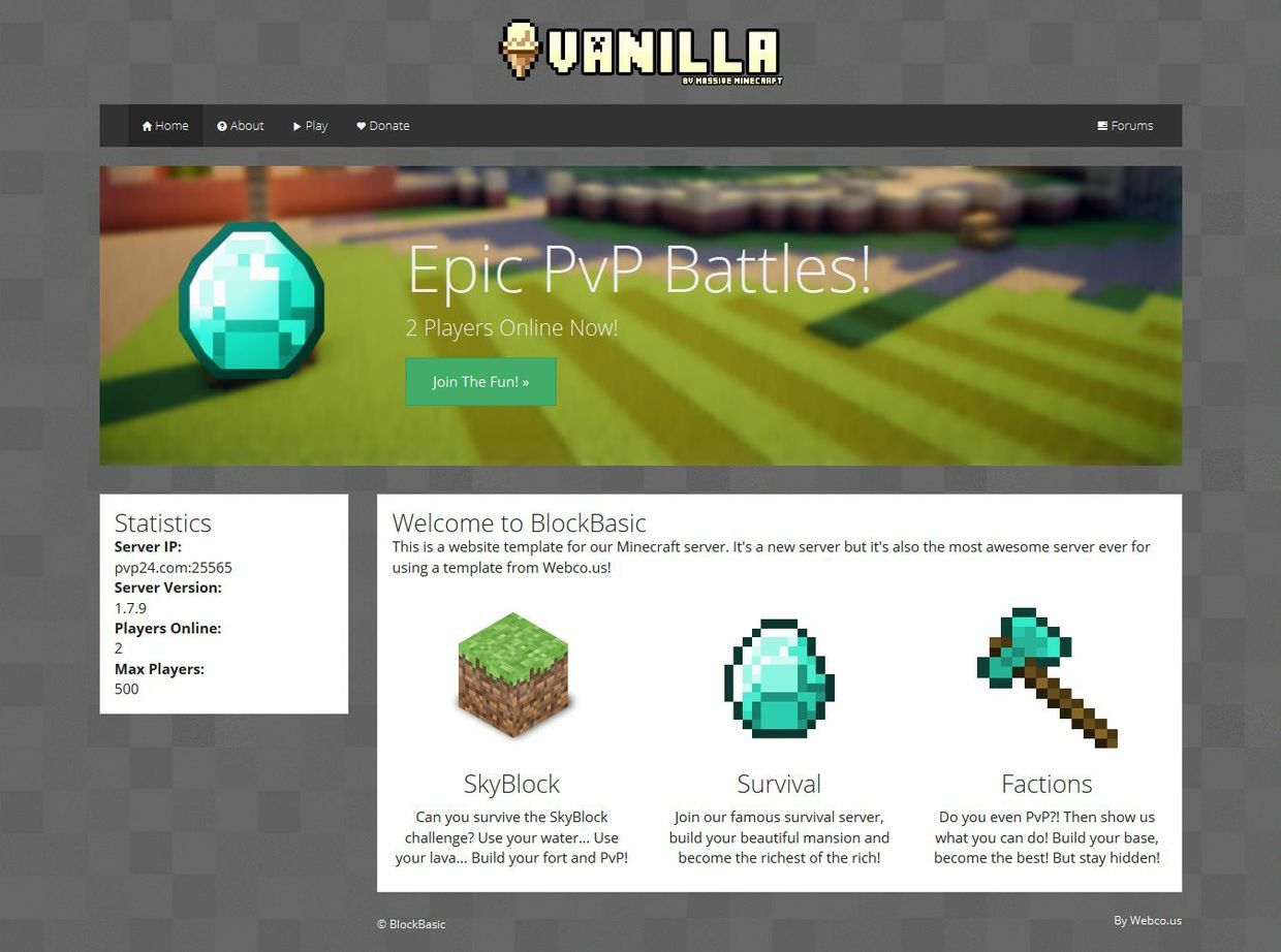 005 Fearsome Minecraft Website Template Html Free Download Highest Quality Full