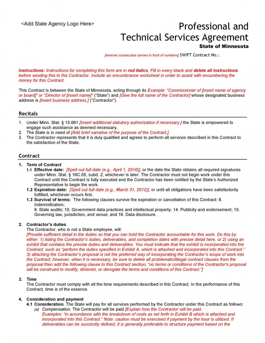 005 Fearsome Professional Service Agreement Template Sample  Canada Uk