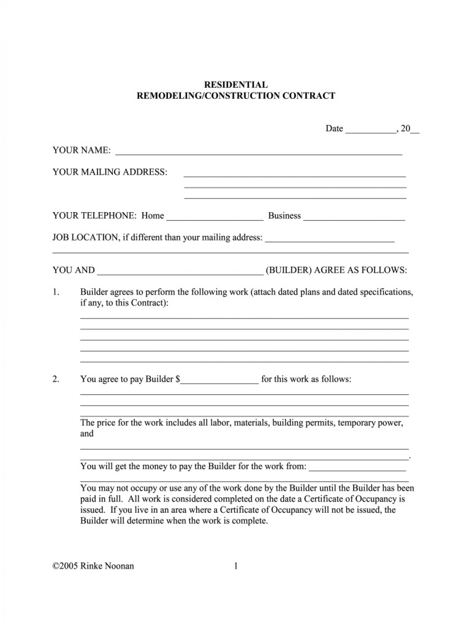 005 Fearsome Residential Construction Contract Template Example  House Agreement Pdf1920