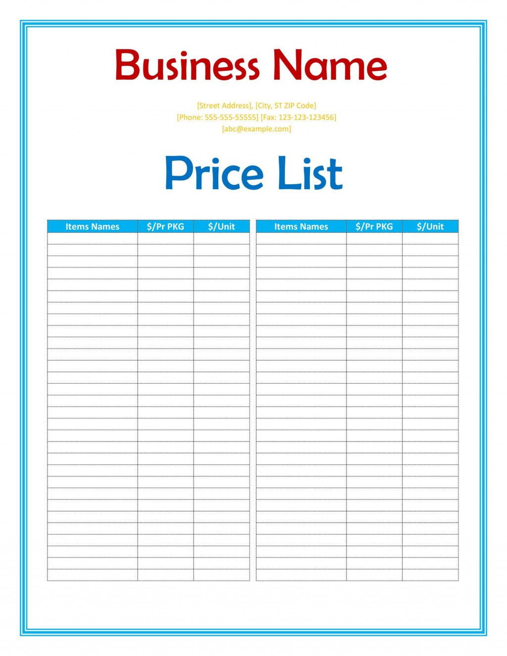 005 Fearsome Wholesale Price List Template Photo  BakeryLarge