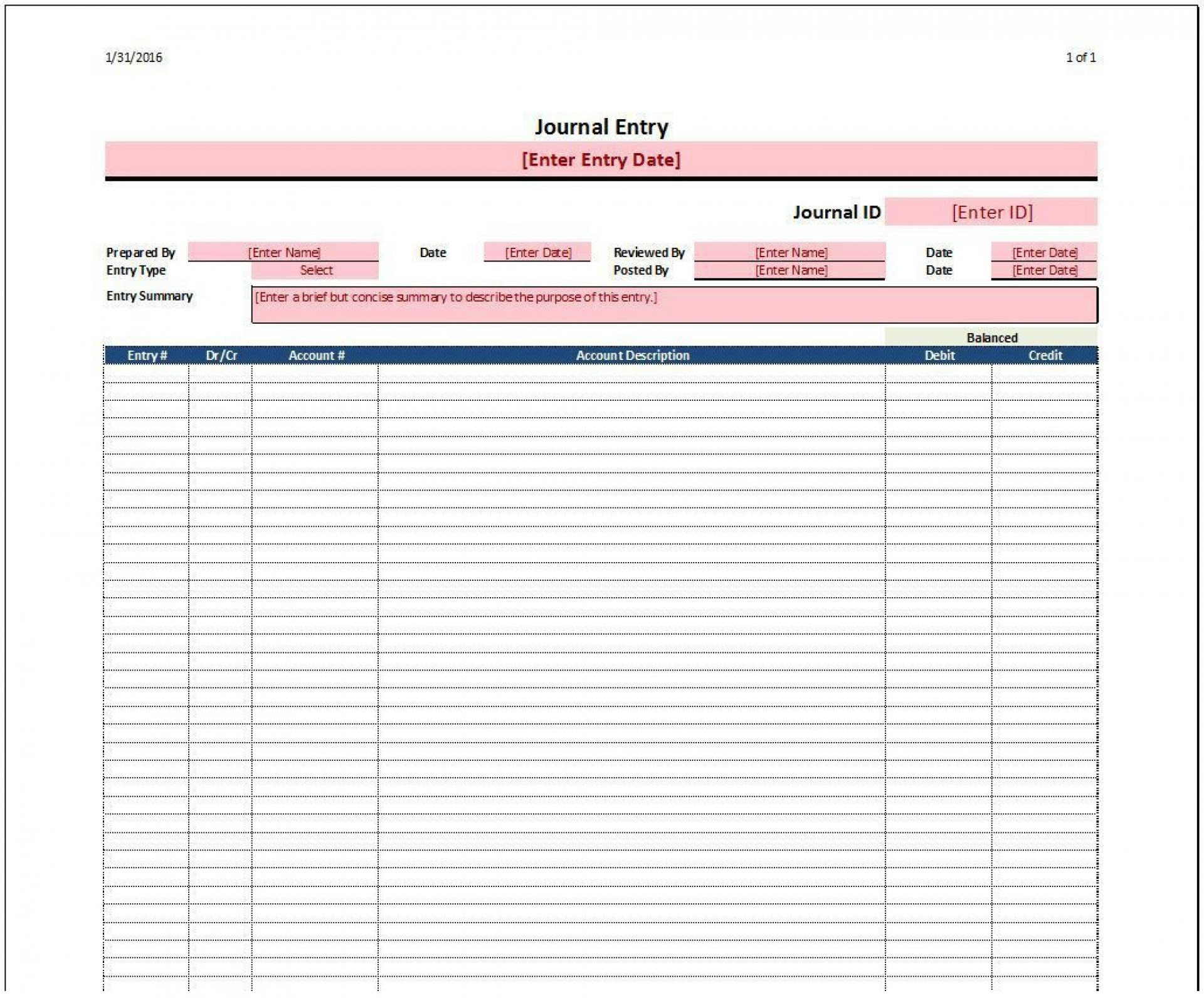 005 Formidable Accounting Journal Entry Template Inspiration  Blank Download Free1920