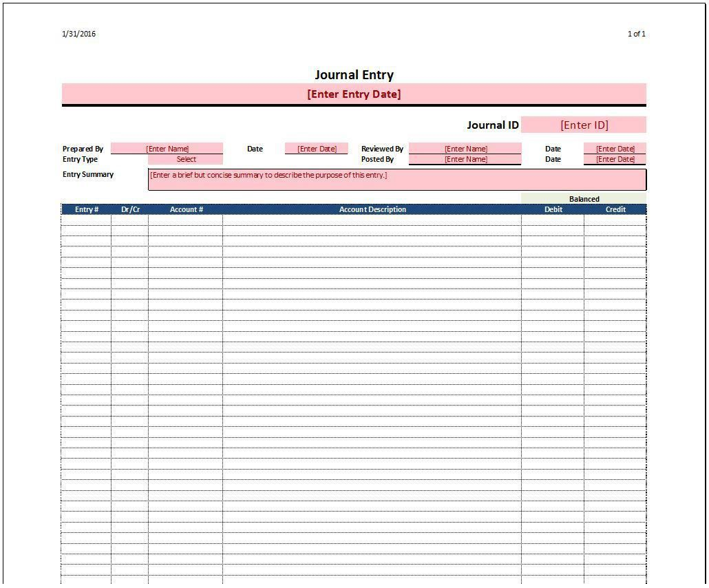 005 Formidable Accounting Journal Entry Template Inspiration  Blank Download FreeFull