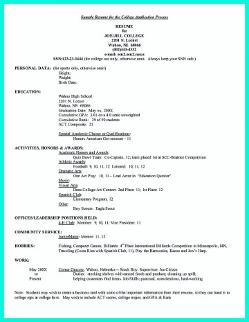 005 Formidable College Admission Resume Template Sample  Microsoft Word Application Download360