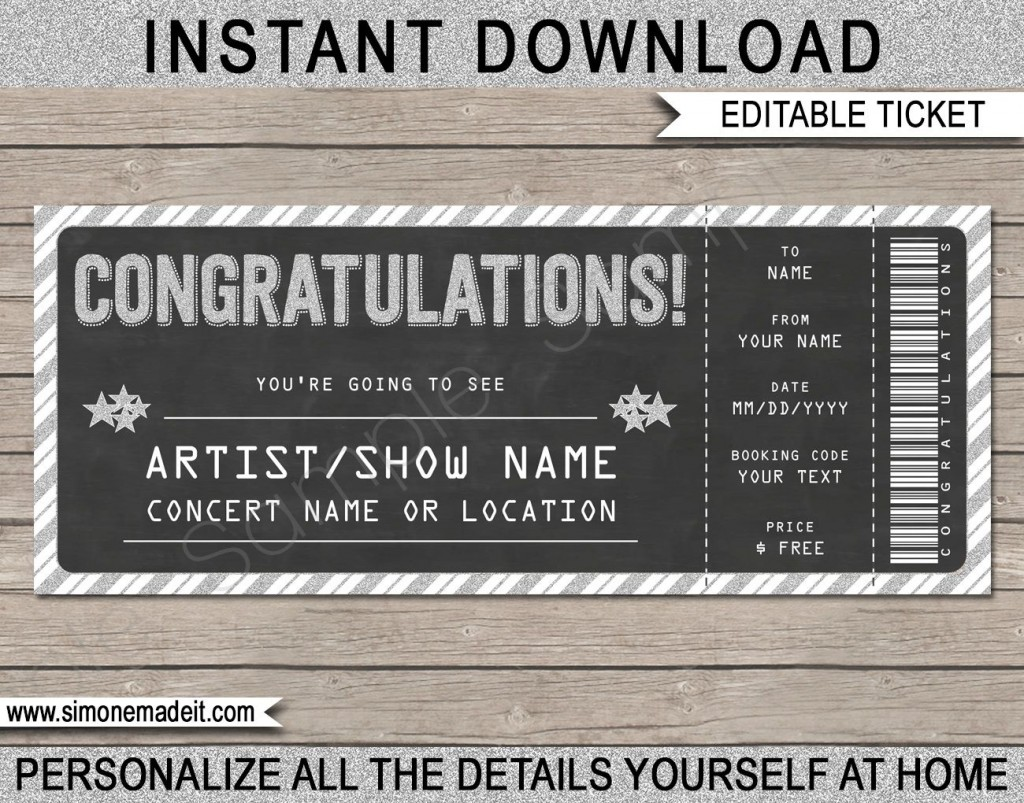 005 Formidable Concert Ticket Template Free Printable Photo  GiftLarge