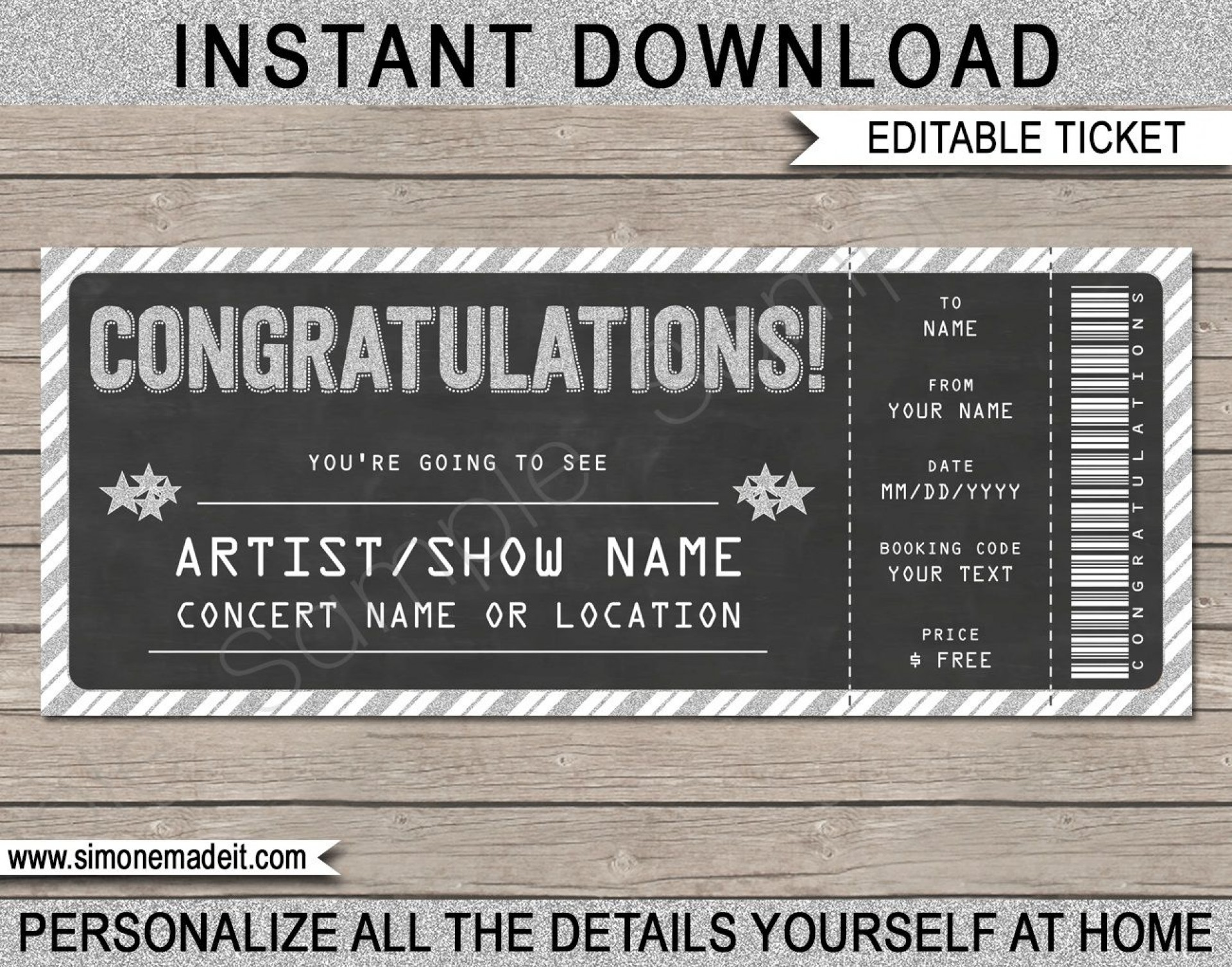 005 Formidable Concert Ticket Template Free Printable Photo  Gift1920