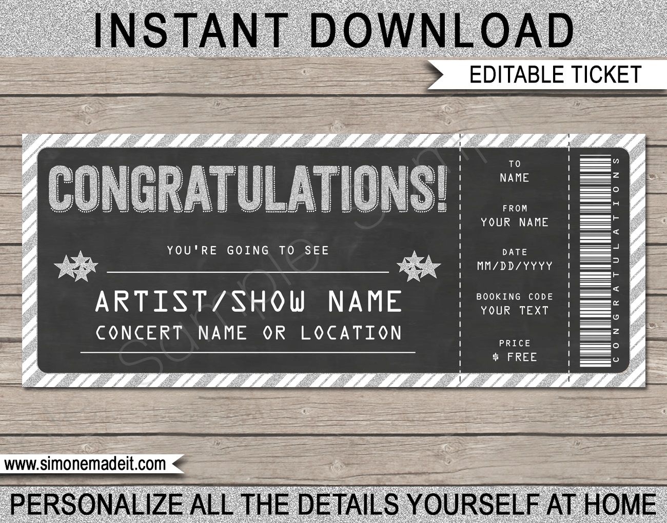 005 Formidable Concert Ticket Template Free Printable Photo  GiftFull