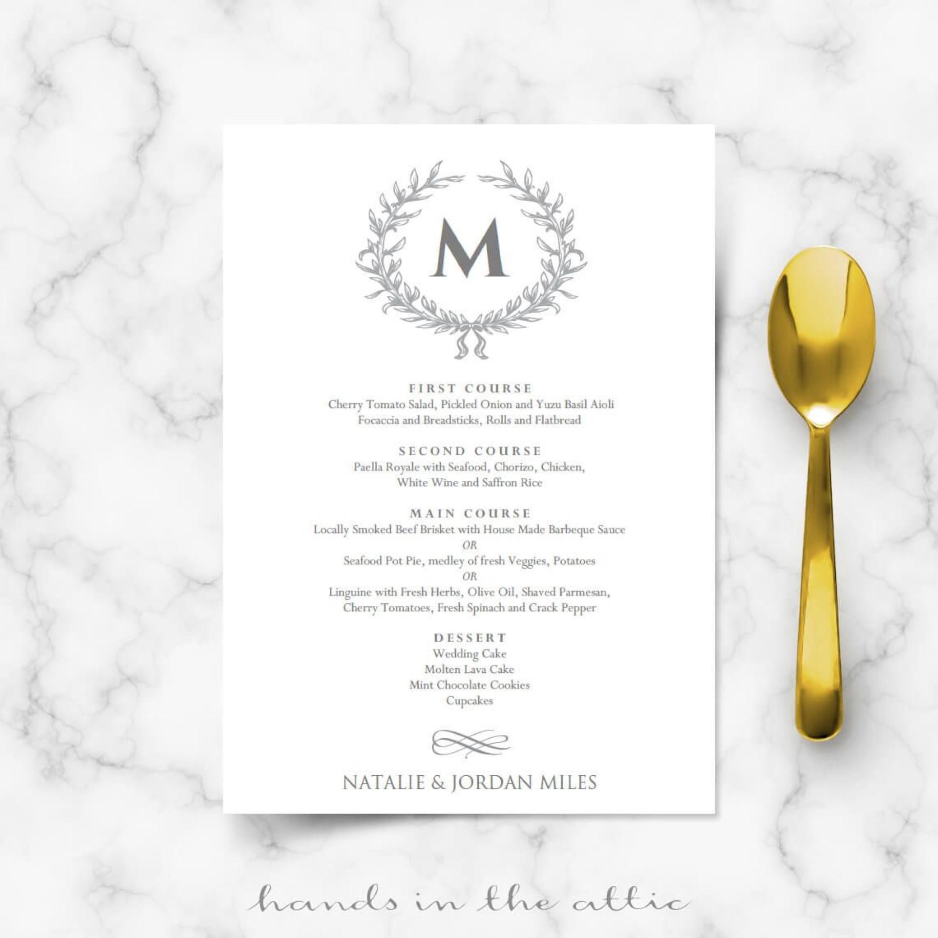 005 Formidable Elegant Wedding Menu Card Template Inspiration  Templates1920