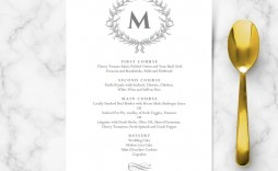 005 Formidable Elegant Wedding Menu Card Template Inspiration  Templates