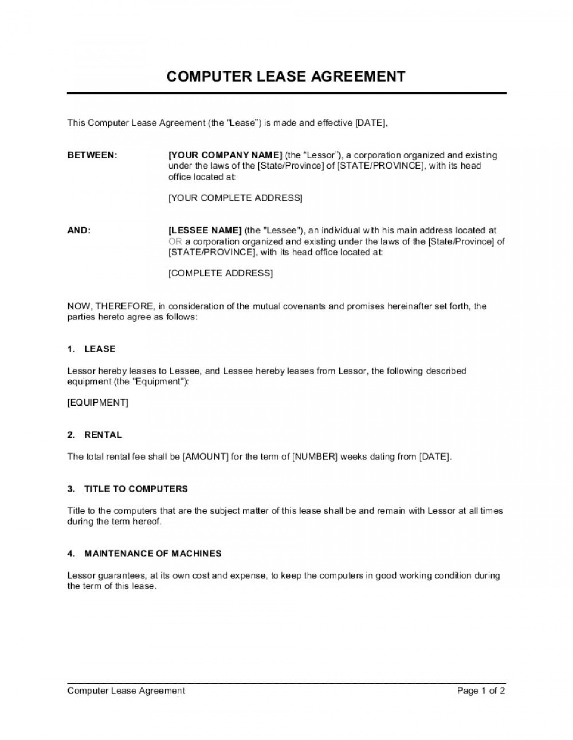 005 Formidable Equipment Rental Agreement Template Picture  Canada Free South Africa Pdf1920