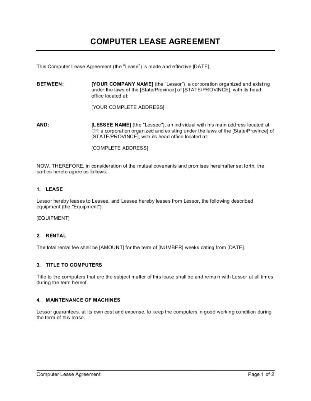 005 Formidable Equipment Rental Agreement Template Picture  Canada Free South Africa PdfFull