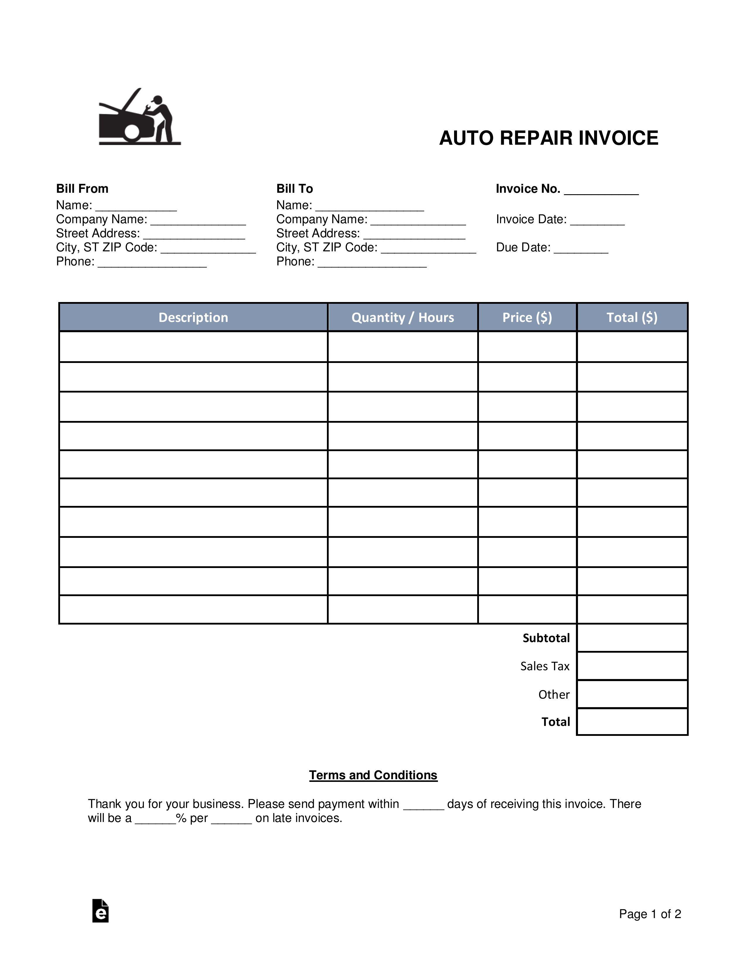 Free Auto Repair Invoice Template Word Addictionary