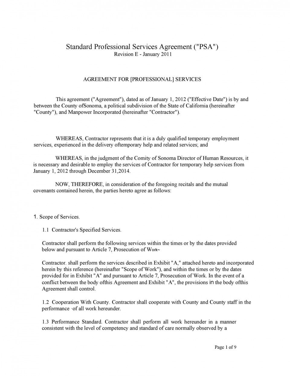 005 Formidable Free Service Contract Template Word Idea  Microsoft960