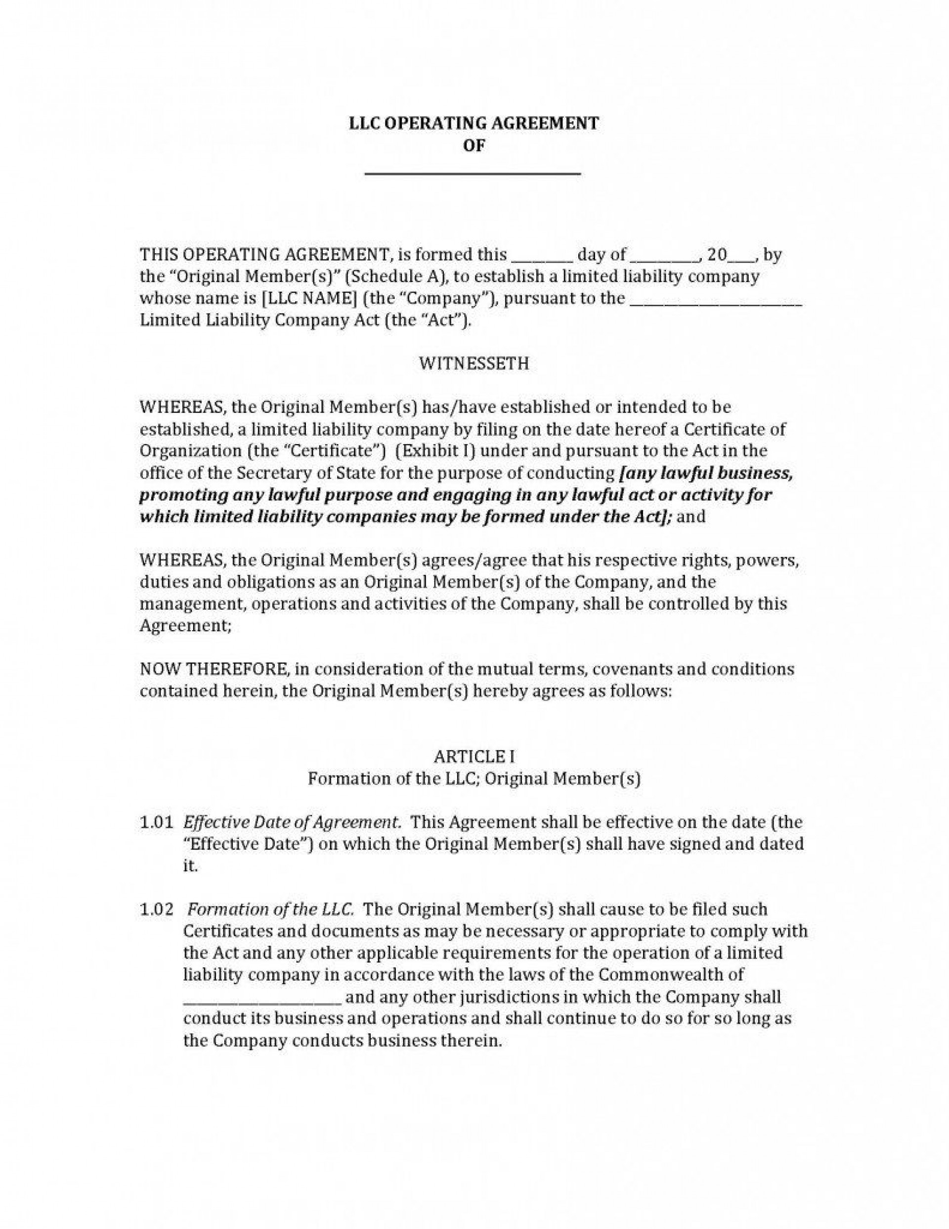 005 Formidable Operating Agreement Template For Llc Highest Quality  Form Florida Texa1920